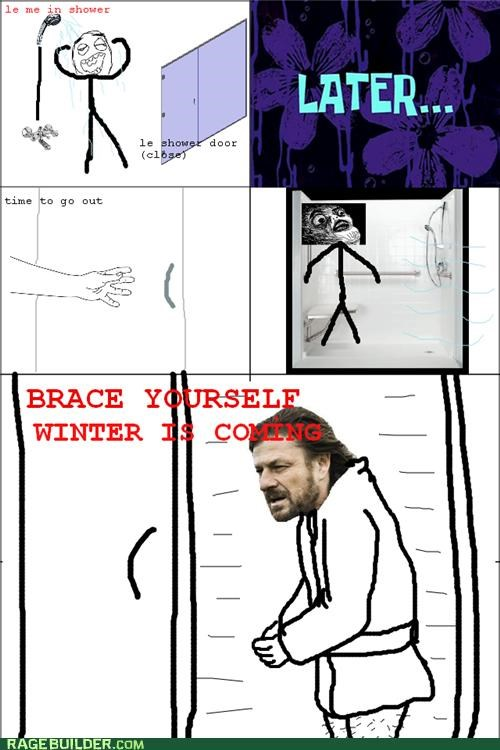 cold,Rage Comics,shower,Winter Is Coming