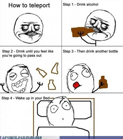 drinking,drunk,Hall of Fame,in bed,magic,Rage Comics,teleport