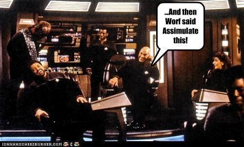 Captain Picard Jonathan Frakes Michael Dorn patrick stewart Star Trek william riker Worf - 5384340480