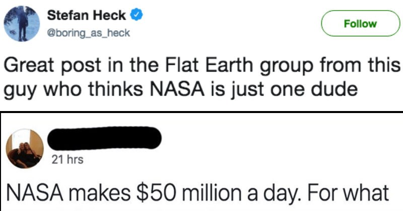 twitter moron roast ridiculous flat earther stupid space - 5385989