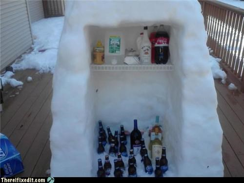 beer fridge ice snow winter - 5386007808