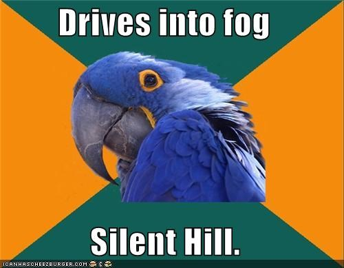 driving,fog,movies,Paranoid Parrot,silent hill,video games