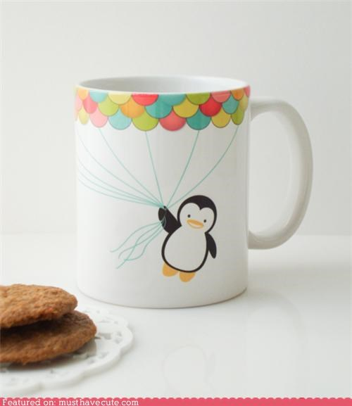Balloons,ceramic,fly,mug,penguin