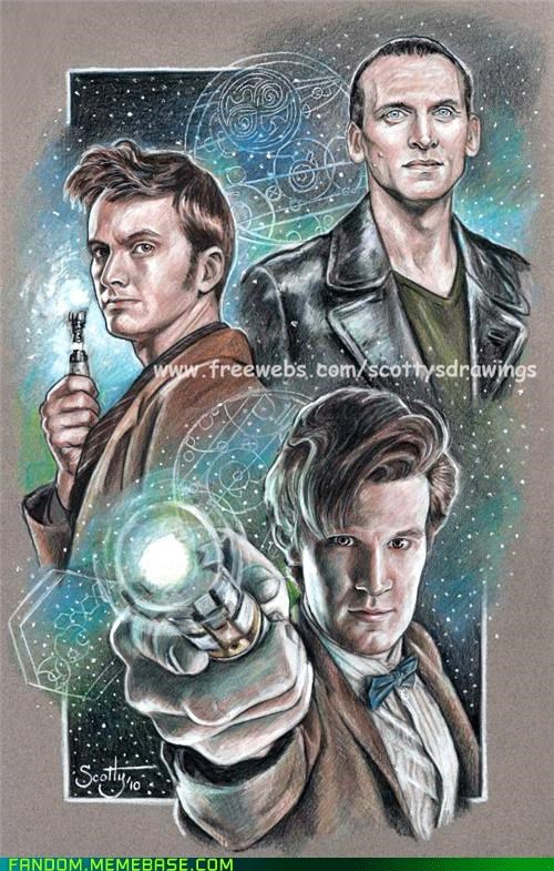 christopher eccleston,David Tennant,doctor who,Fan Art,Matt Smith