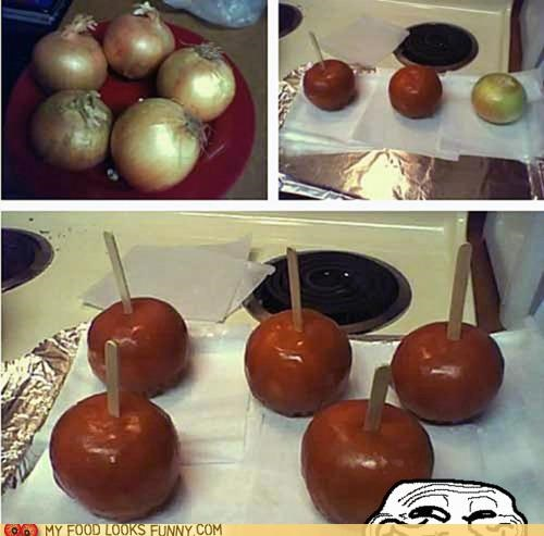 apple,caramel,disguise,halloween,onion,trick,troll