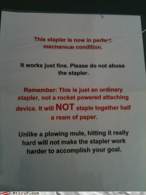 borrowing gentle office supplies passive aggressive stapler warning - 5386736128