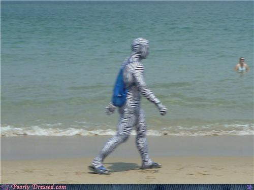 beach,body suit,stripes,zebra man