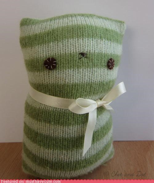 green kitty Knitted Plush striped stuffed