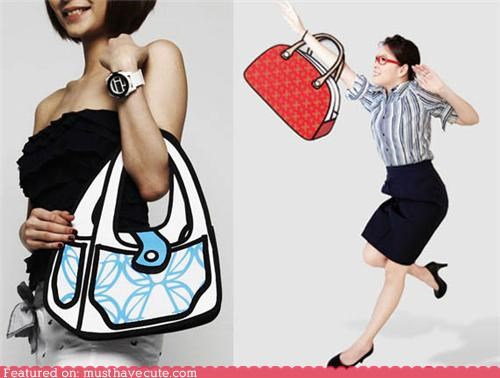 2d accessories cartoons drawing graphic handbag purse - 5386838528