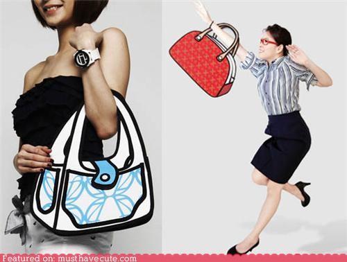 2d accessories cartoons drawing graphic handbag purse - 5386838528