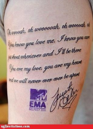 baby g rated Hall of Fame justin bieber mtv song lyrics ugliest tattoo - 5387389440