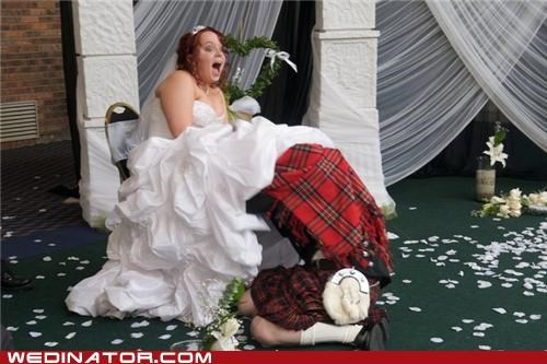 bride,funny wedding photos,Garter,groom,surprised bride