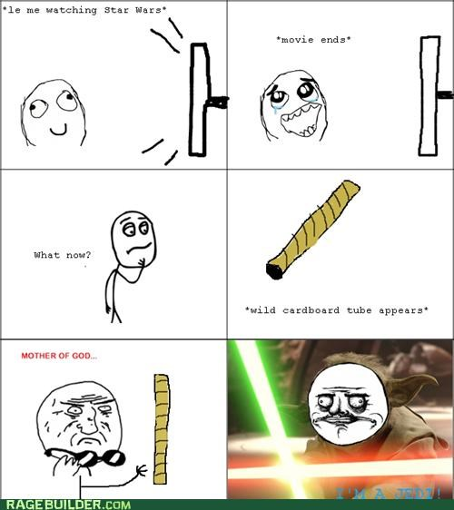 cardboard tube light saber Rage Comics star wars - 5387823104