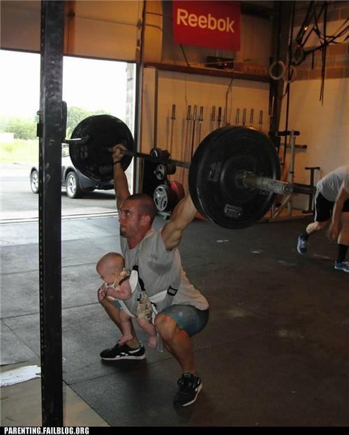 baby,dad,dangerous,Parenting Fail,weight lift,work out