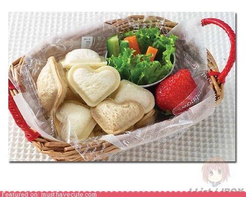 bread epicute hearts lunch salad sandwiches strawberry - 5389247488