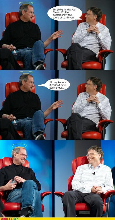Bill Gates,comic,heaven,meme,steve jobs,the internets,virus