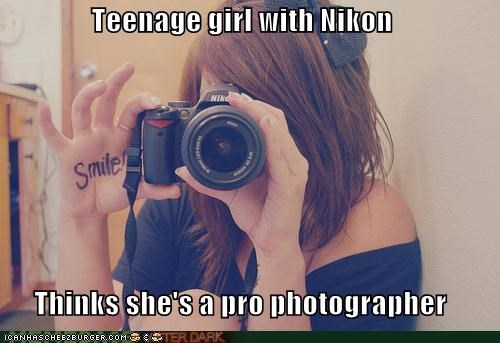 Teenage girl with Nikon Thinks she's a pro photographer