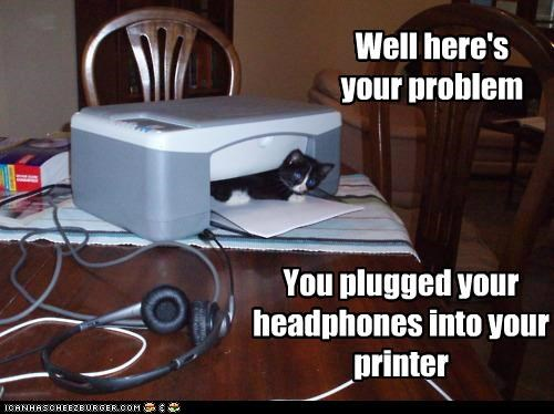 caption captioned cat headphones here kitten plugged printer problem twist well - 5389443328