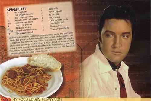 cookbook Elvis recipe spaghetti