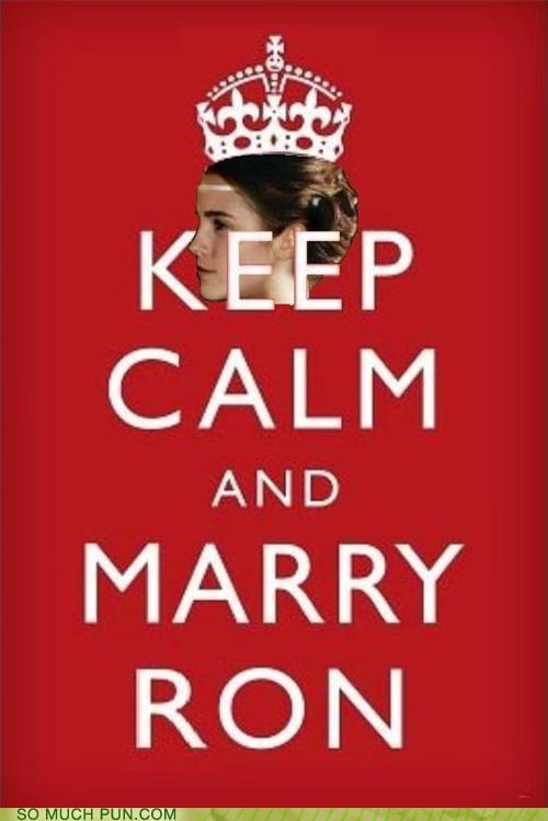 Hall of Fame,Harry Potter,hermione granger,keep calm and carry on,marry,meme,rhyming,ron