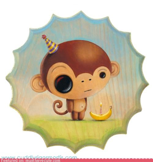 art,banana,birthday,candle,monkey,painting,wood