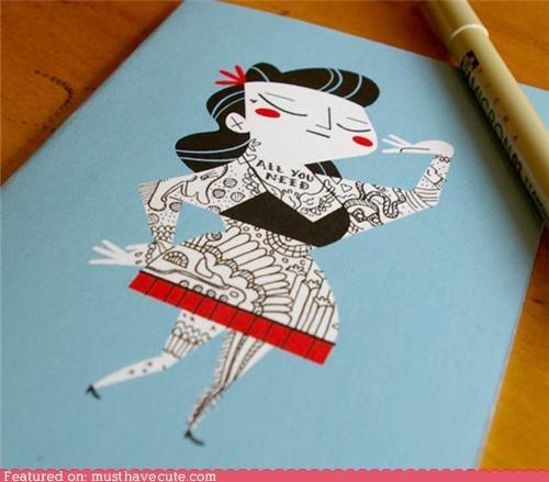 card design DIY drawing notecard tattoos - 5391045632
