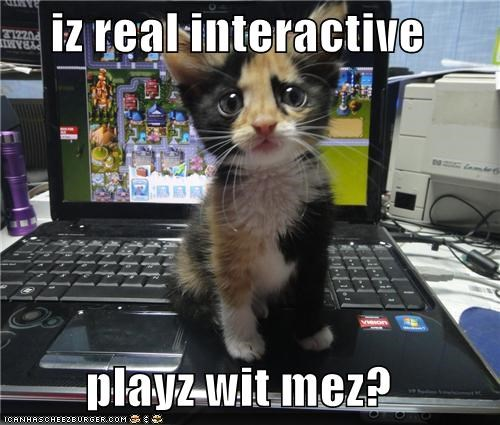 caption captioned cat Hall of Fame I interactive kitten me play question real request with - 5391102720