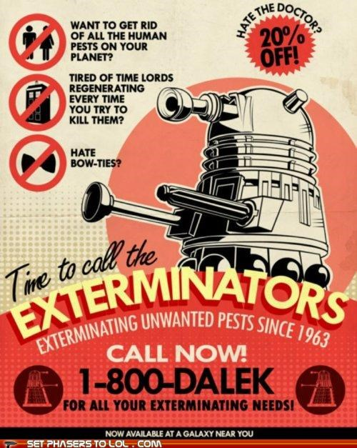 art,bow ties,daleks,doctor who,Exterminate,pests,poster,the doctor,Time Lords