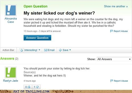 bait and switch,lick,weiner,Yahoo Answer Fails