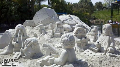 lego,nerdgasm,sand,sculpture,star wars