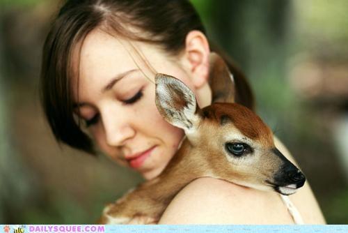 baby cuddling deer fawn fawnception fawning hugging human literalism pun