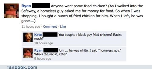 fried chicken,homeless,oh snap,racist