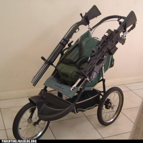apocalypse baby guns naughty or nice Parenting Fail stroller wait what weapon - 5392409344