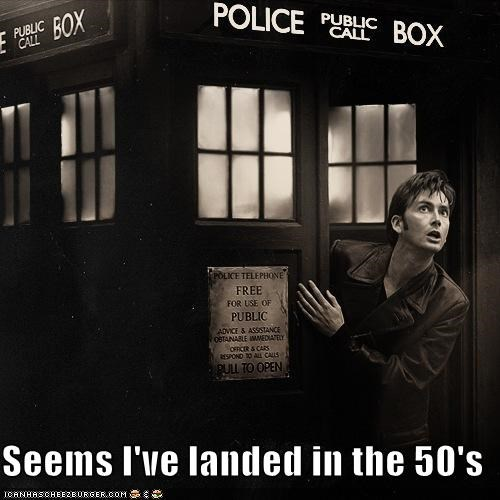 1950s black and white David Tennant doctor who landed