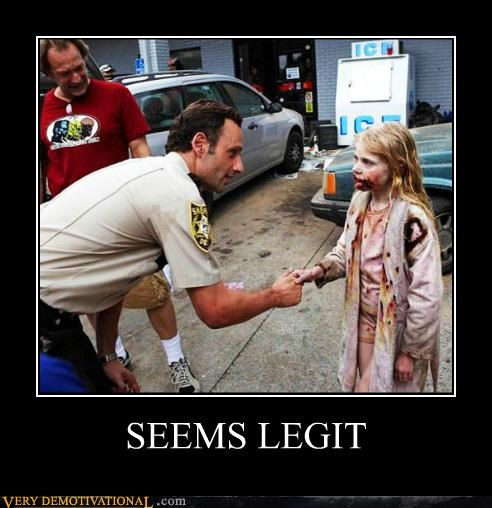 hilarious little girl seems legit The Walking Dead zombie - 5393894656