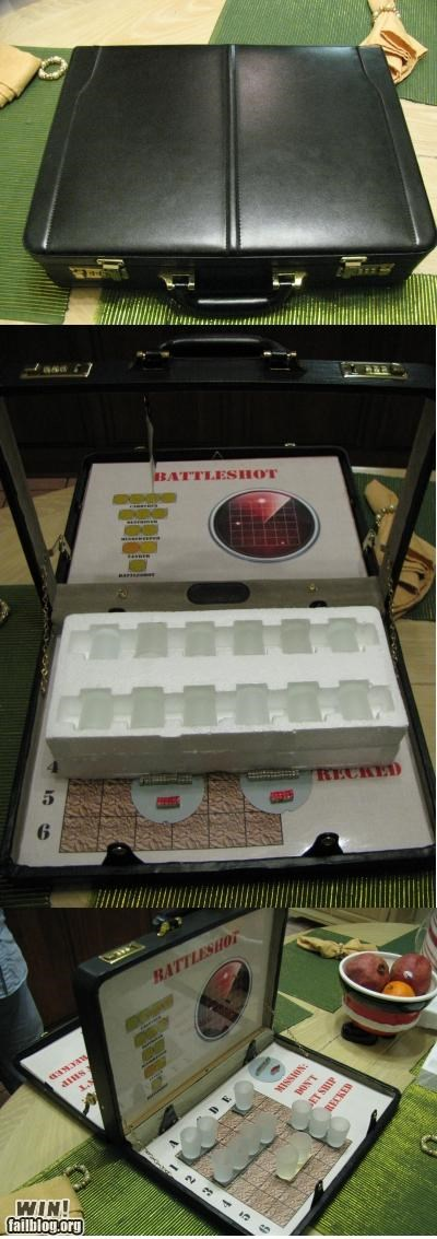 battle shots battleship board game briefcase drinking portable travel size - 5394535424