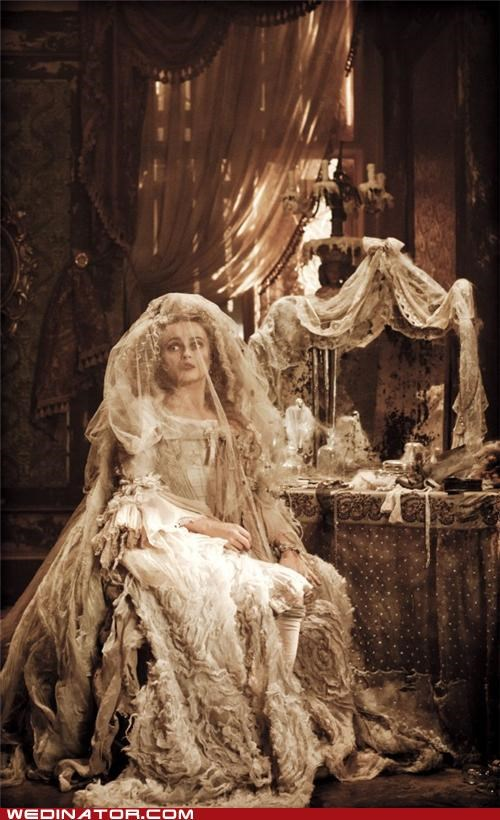 charles dickens,funny wedding photos,Great Expectations,helena bonham-carter,Miss Havisham,wedding dress