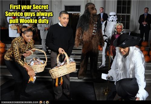 First year Secret Service guys always pull Wookie duty