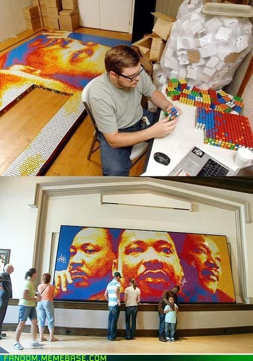 Fan Art,Martin Luther King,portrait,rubiks cube