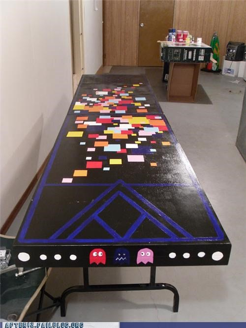 beer,beer pong,drinking,drinking game,pac man,table,video games,win