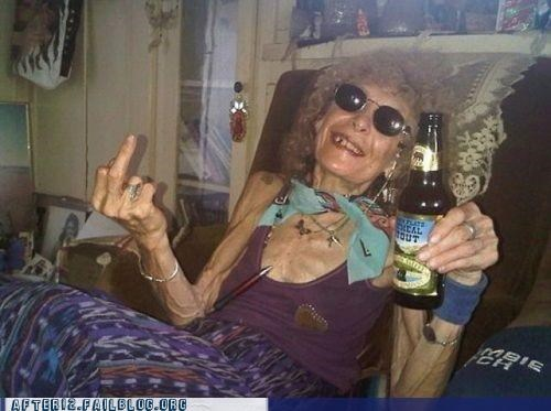 beer bottle dont-care drinking granny old people the elderly are jerks - 5395824640