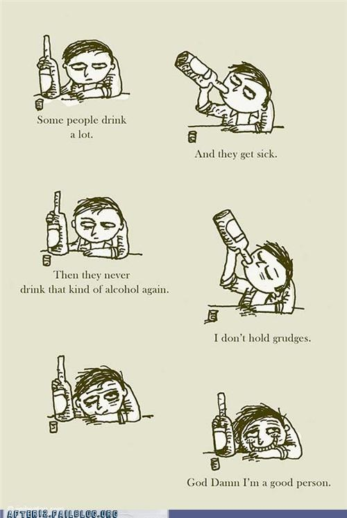 alcoholism cartoons comic drinking drunk good person grudge