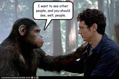 breakups dating Hall of Fame James Franco other people rise of the planet of the apes