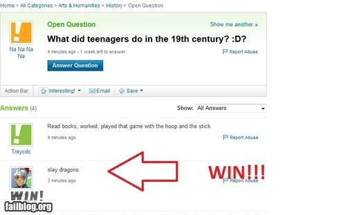 Funny Yahoo Answers WIN of someone who asked what did teenagers do in the 19th Century.