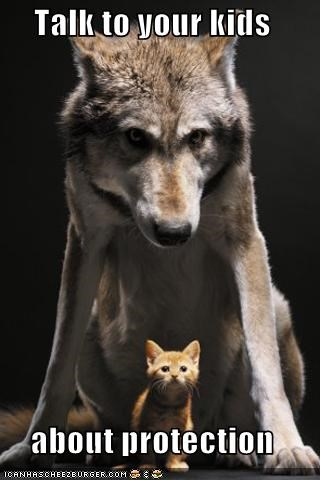 caption captioned Cats innuendo Interspecies Love kids protection protector talk to your kids wolves - 5398184960