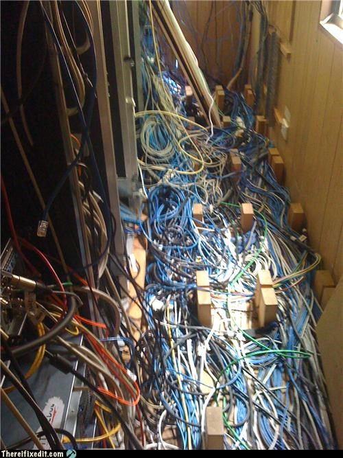 electrical fire,overkill,server,wires