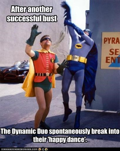 Adam West,batman,burt ward,happy dance,robin,success
