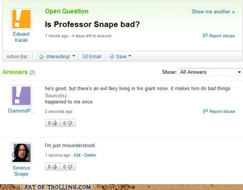 best of week,Harry Potter,misunderstood,snape,Yahoo Answer Fails