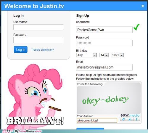 brilliant captcha okey-dokey lokey pinkie pie ponies - 5398582528