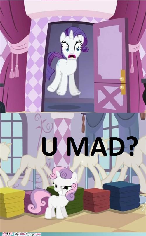 problem,rarity,Sweetie Belle,troll,TV,u mad